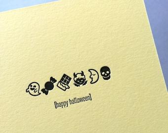 Emojicards: Happy Halloween, single letterpress card