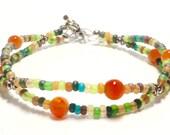 Carnelian Bracelet, Carnelian Jewelry, Carnelian Seed Bead Bracelet, Seed Bead Bracelet, Carnelian Seed Bead, Fall Bracelet, Autumn Bracelet