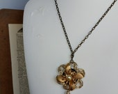 Repurposed Flower Pendant with Shell Dangle on Chain