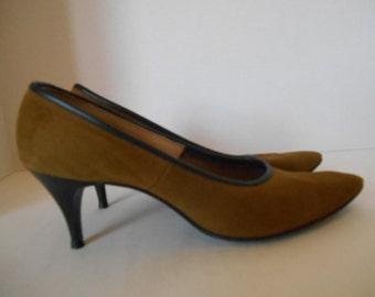 Vintage 50's suede   high heel pumps size 6.5   7  US     Lady McGuire