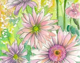 Pink Painted Daisies Watercolor Flowers Bouquet Original Painting