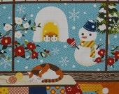 Furoshiki 'Kotaro the Cat and Snowman' Cotton Japanese Fabric 50cm w/Free Insured Shipping