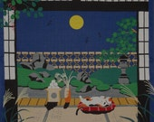 Japan Fabric Furoshiki Kotaro the Cat and Autumn Full Moon Motif Cotton 50cm w/Free Insured Shipping