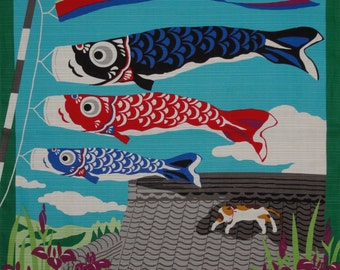 Boy's Day Furoshiki Kotaro' the Cat and Koinobori Carp Streamers'  Cotton Japanese Fabric 50cm w/Free Insured Shipping