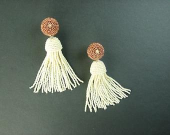 Beaded tassels, tassel earrings, custom wedding, wedding earrings, copper and ivory, Art Deco earrings