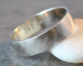 forest ring - men's wedding band in 14k white gold, organic brushed satin finish
