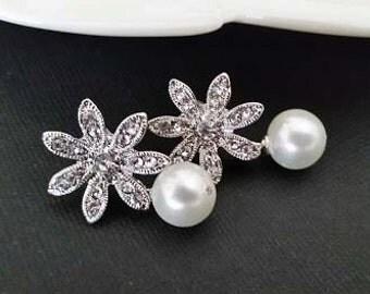 Bridal Stud Earrings, Pearl Wedding Earrings, Pearl Crystal Earrings, Wedding Stud Earrings, Wedding Earrings Pearl, Bridal Earrings Vintage