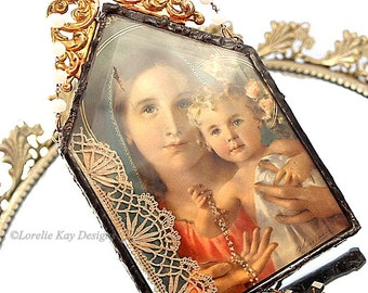Two Sided Soldered Religious Picture Beveled Glass Wall Hanging Large Catholic Religious Art Ornament One-of-a-Kind Mixed Media