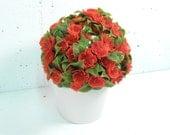 Vintage 1960s plastic flowers, craft flower sprays, red flowers