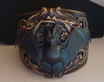 Bat Cuff Bracelet, Victorian Style Bat Built Upon A Spider Web Embossed Cuff, Custom Built, Decadent, USA, Metal Bonded, NOT Glued Together