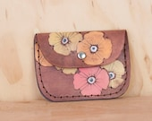 Leather Pouch - Coin Purse - Card Case - Business Card Holder - Handmade in the Poppy Garden pattern - pink orange yellow antique mahogany