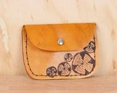 Leather Pouch - Coin Purse - Card Case - Business Card Holder - Handmade in the Faux Bois pattern with wood rounds in antique tan