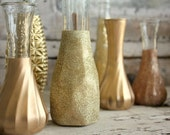 Gold vases, Set of 6 CUSTOM gold glitter dipped vintage budvases and, painted bud vase, gold wedding table decor, vase collection