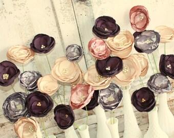 Fabric Flower stems for wedding decorations, 12 bulk fabric flowers for wedding bouquet or decoration, custom wedding flowers