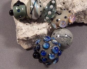 Handmade Lampwork Beads by Monaslampwork - Gray Neutrals -Handmade Lampwork Beads by Mona Sullivan Boho Gypsy Organic Ancient