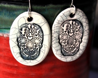 Day of the Dead Ceramic Earrings