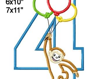 Monkey Balloons 4 Birthday Machine Embroidery Applique Digital Pattern 5x7 6x10 7x11 INSTANT DOWNLOAD