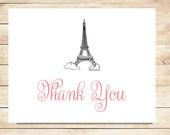 Parisian Thank You Cards - Eiffel Tower Thank you Cards - Paris, Eiffel Tower Stationery