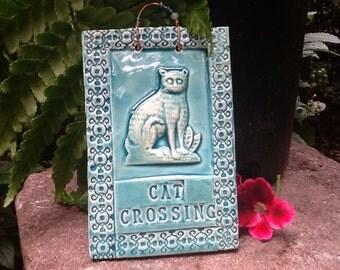 Cat Crossing Tile in Blue Lapis Glaze