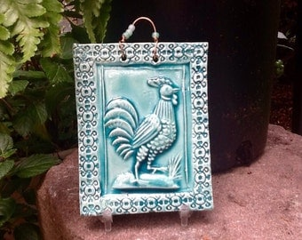 Strutting Rooster Tile in Turquoise