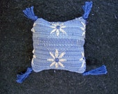 One Dollhouse Miniature Blue and Beige Pillow (Square with Tassels)