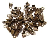 Cord Ribbon End Tip Fold Over Clasp Crimp Bead Stopper Antiqued Brass Bronze Small 5x3mm (3x2mm workspace)  - 100 Qty