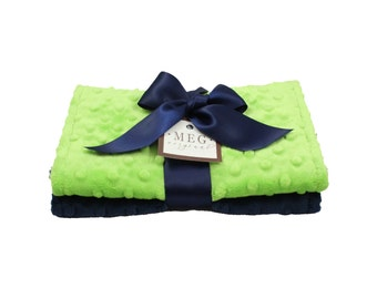 Navy Blue & Lime Green Minky Dot Baby Burp Cloth Set, 1101 { Seattle Seahawks Team Colors }