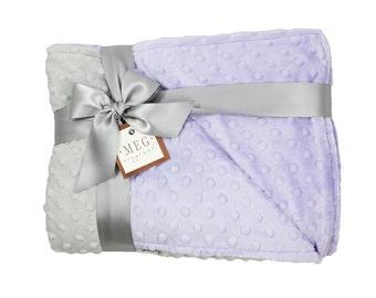 Lavender & Gray Minky Dot Baby Girl Crib Blanket / Toddler Bed Blanket, 652