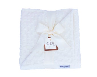 Vanilla Cream Minky Dot Baby Blanket, Boy/Girl/Unisex/Gender Neutral, Ivory 386
