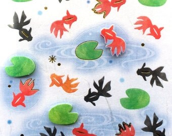 Cute Japanese Stickers Summer Theme Chiyogami Paper Stickers (s252) Goldfish Kingyo