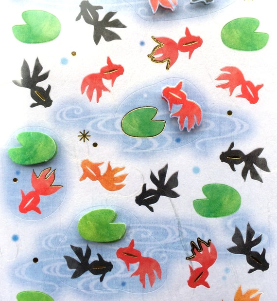 Cute Japanese Stickers Summer Theme Chiyogami Paper Stickers (s112) Goldfish Kingyo