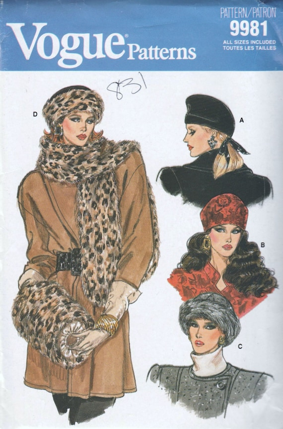 1980s hat, stole, and muff pattern - Vogue 9981