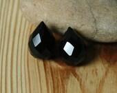Black onyx faceted teardrop briolette 18x12mm, 6 pcs (item ID BOFT18)