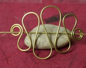Handmade solid brass hair pin, shawl pin, scarf pin, one piece (item ID HS09B)
