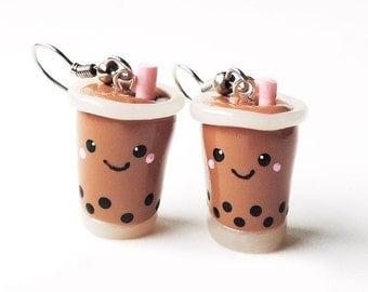 Kawaii Milk Tea Bubble Tea Boba Tea Earrings