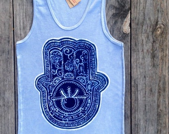 Hamsa batik tank top yoga eco friendly ribbed gray - yoga clothes - women size XS, S, M, L, XL, XXL