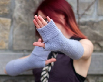 Lavender Cashmere Arm Warmers Sleeves Elf Pixie Fairy Fingerless Gloves Purple