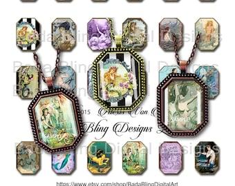 Mermaids, 22mm x 30mm octagons,  vintage mermaids,  INSTANT DOWNLOAD at Checkout, mermaid collage sheets. mermaid pendants, mermaid jewelry