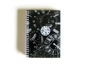Clocks Notebook, Clocks on Black, Spiral Bound, Notebook, Blank Notebook, Sketchbook, Writing Journal, Travel Journal, Pocket Journal, A6