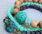 Turquoise and Brown Stretch Bracelets, Boho Bracelets, Beach Bracelet,  Stackable Stretch Bracelets, Swarovski Pacific Opal, Carved Bead