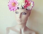 Flower Floral Head Dress Pink Head Band Festival Rose Garland Garden Head Piece