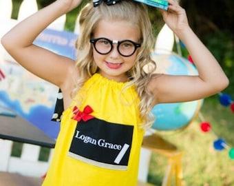 Girl Back To School Chalkboard Dress Boutique 1st day of Kindergaten Preschool 2ND GRADE 3RD 24 month size 2T 3T 4T 5T 6 7 8 Pageant