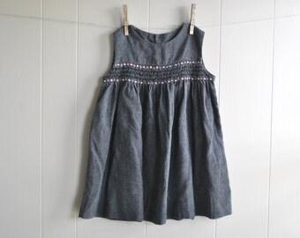 vintage girls dress, vintage jumper, grey
