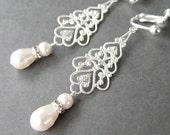 Silver Bridal Clip-on Earrings, Long Pearl Rhinestone Clipons, Silver Ear Clips, Filigree Teardrop Wedding Clip Earrings, Handmade, Alana