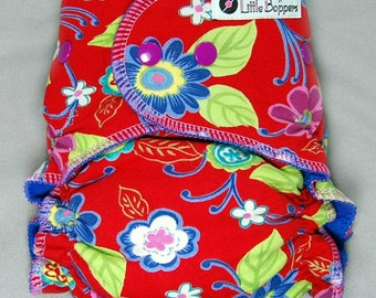 AI2 Cloth Diaper Made to Order - Hanna Red Floral - You Pick Size and Style - Red Girly Cloth Nappy Diaper - Beautiful Euro Print - Lovely