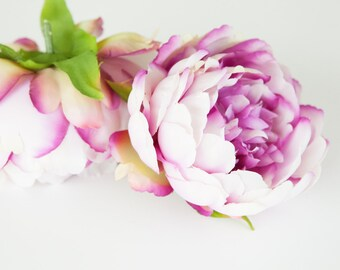 Silk Artificial Flower - Full Shabby Chic Peony in Magenta Plum and White  -- 4.5 inches  -artificial flower
