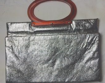 1950s vintage silver lame collapsible rectangle handbag with tortoiseshell bakelite handles