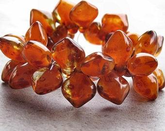 Orange Crystal Picasso 12x8mm Czech Glass Spade Bead : 12 pc Czech Orange Spade Bead