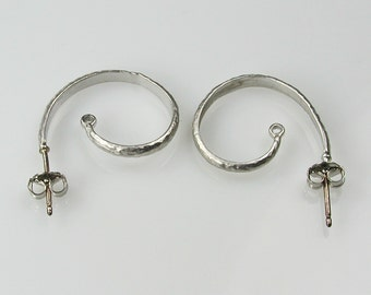 Silver Plated Curled Loop Ear Post Findings