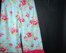 READY to MAIL - Ladies Samurai PANTS / Capris - Tanya Whelan - Blue Roses - Will fit size S / M - by Boutique Mia